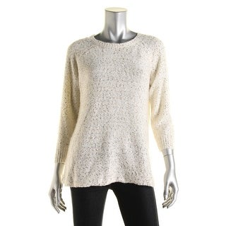 Anne Klein Womens Sequined Raglan Sleeves Pullover Sweater - M