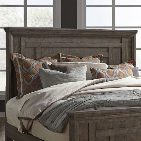 Copper Grove Letampon Wire-brushed Aged Oak Queen Panel Headboard Only