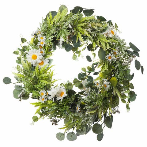 "Enova Home 22"" Artificial Daisy Flower Wreath with Green Leaves for Festival Celebration Front Door Wall Window Party Decoration"