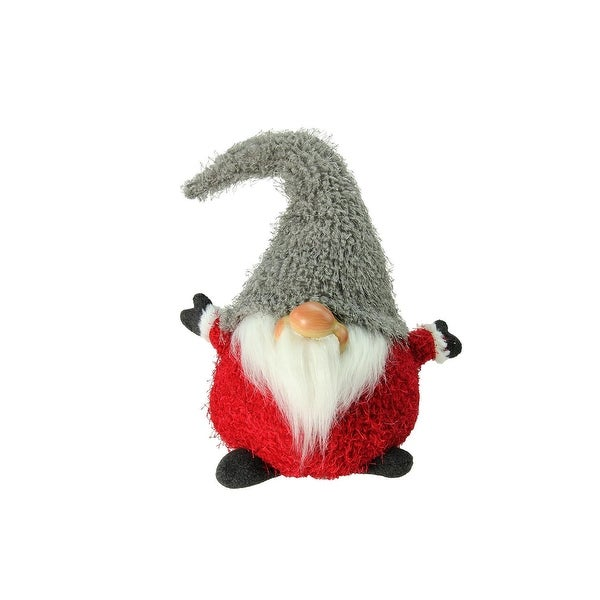 "9.5"" Frayed Gray and Red Chubby Smiling Gnome Plush Table Top Christmas Figure"