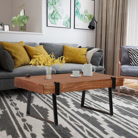 """ExBrite Solid Wood Coffee Table Metal Legs with Total Side 4"""""""