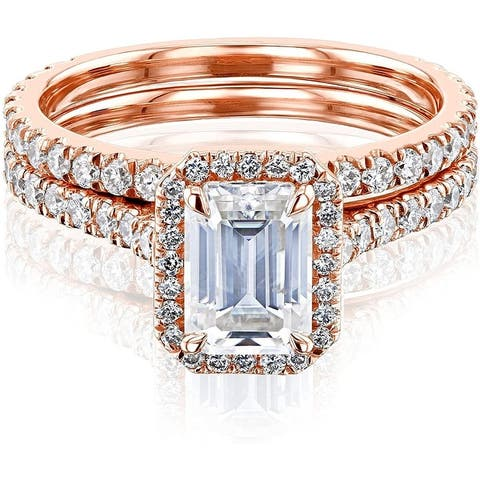 Annello by Kobelli 14k Gold Emerald Cut Forever One Moissanite Halo Bridal Set (DEF/VS, DEF/VS)
