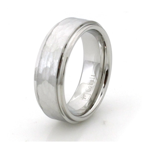 Hammered Cobalt Chrome Ring Wedding Band