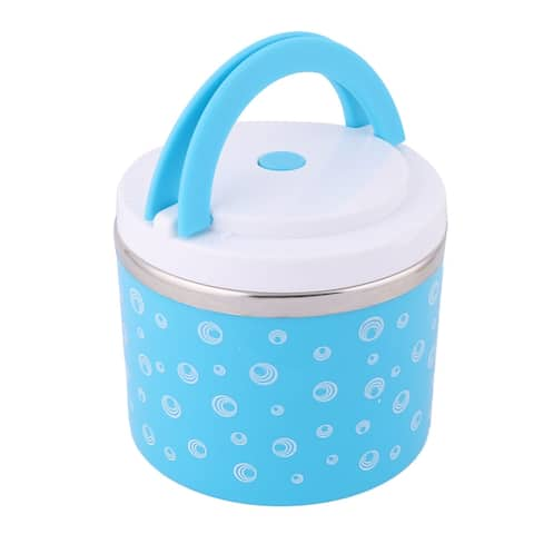 Office Circle Pattern Food Rice Soup Holder Storage Handle Lunch Box Blue 800ml