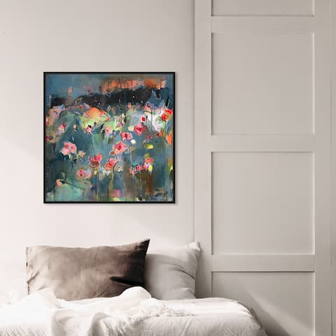 Oliver Gal 'Michaela Nessim - Subtle radiance' Abstract Wall Art Framed Canvas Print Paint - Gray, Pink