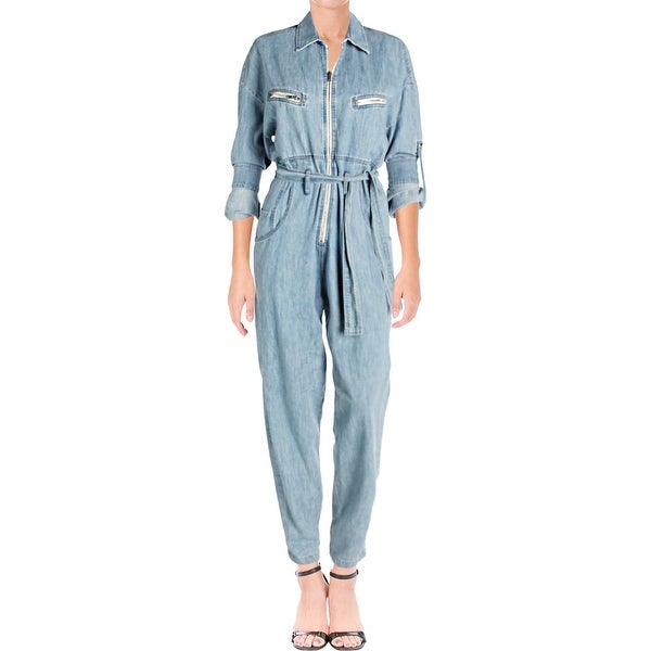 2117f6ddcc6 IRO. Jeans Womens Polly Flight Jumpsuit Cotton Light Wash - 34. Click to  Zoom