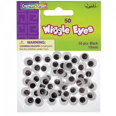 Creativity street wiggle eyes 10mm black 50/pk 344102