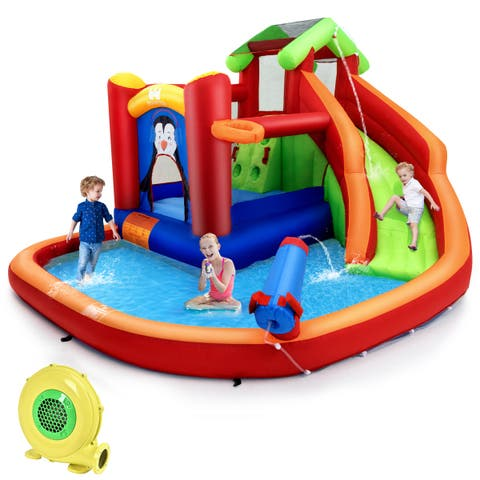 Costway Inflatable Slide Bouncer and Water Park w/ Splash Pool Water Cannon and Blower