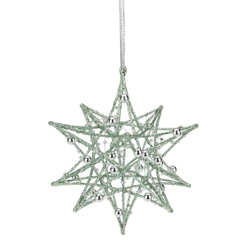"5"" Glitter Green Iron Wire Starburst with Beads Christmas Ornament"
