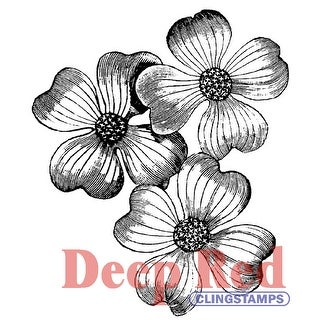 """Deep Red Cling Stamp 2""""X2""""-Dogwood Flowers"""