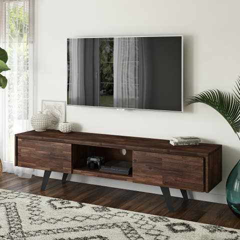 WYNDENHALL Mitchell SOLID ACACIA WOOD 72 inch Wide Modern Industrial TV Media Stand For TVs up to 80 inches