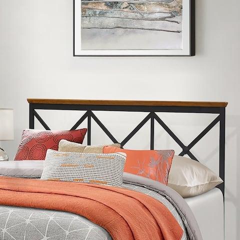 Hillsdale Furniture Ashford Triple X Design Metal Headboard, Textured Black with Oak Finished Wood