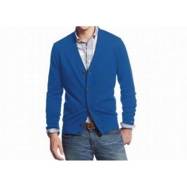 Shop Tommy Hilfiger New Nautical Blue Mens Size Medium M Cardigan