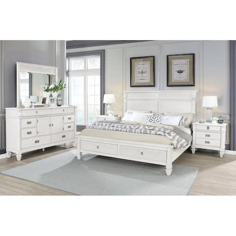 York Wood Antique White Bedroom Set with Storage Platform Bed, Dresser, Mirror and Two Nightstands