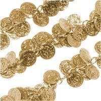 Bright Gold Plated 10mm Coin Charm Chain - Bulk By The Inch