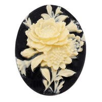 Vintage Style Lucite Oval Cameo Black With Ivory Flowers 40x30mm (1)