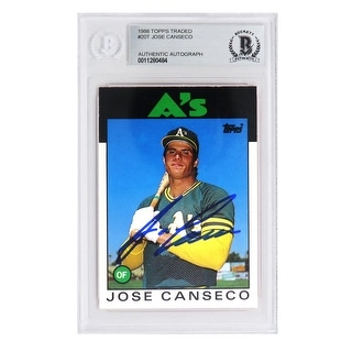 Jose Canseco Oakland As Athletics 1986 Topps Baseball Rookie Card 20T Beckett Encapsulated