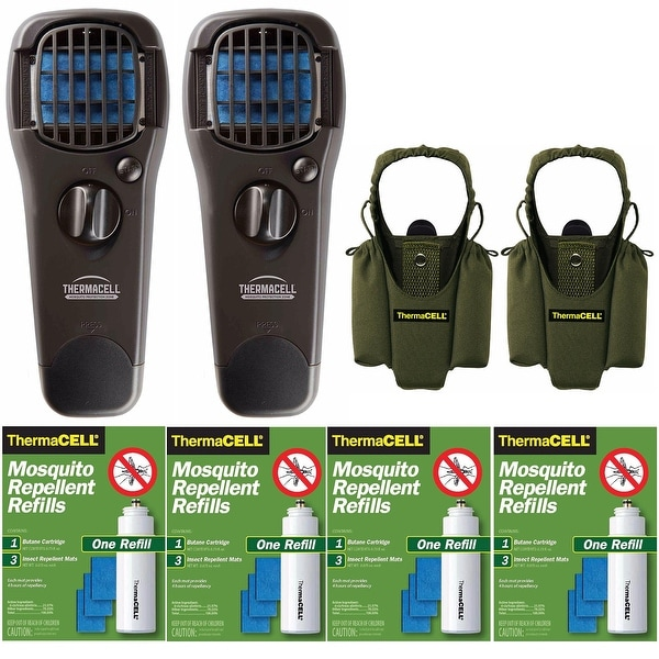 Thermacell Mosquito Repellers W/ Holsters & Refill Packs Bundle - Black