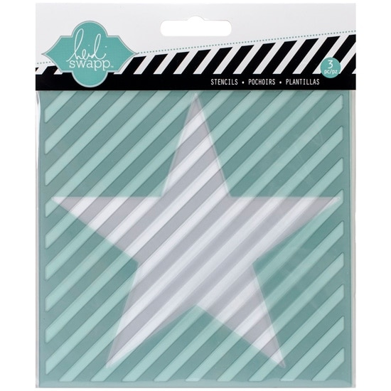 "Star; Cut Out Star Diagonal Stripe - Heidi Swapp Mixed Media Stencils 5.5""X5.5"""