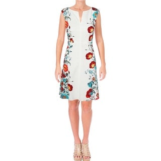 Adrianna Papell Womens Cocktail Dress Floral Print Jacquard