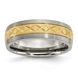 Chisel Titanium 7mm Satin and Gold Plated X Design Band