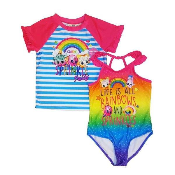 35e750c1b598d Shop Shopkins Little Girls 2-Piece Swim Set Rash Guard Swimsuit Tankini -  Pink/Blue - Free Shipping On Orders Over $45 - Overstock - 23091000