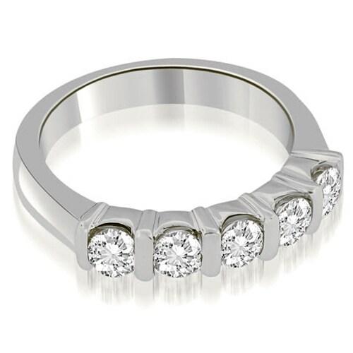 0.50 cttw. 14K White Gold Classic Bar Set Round Diamond Wedding Band