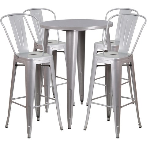 Brimmes 5pcs Round 30'' Silver Metal Table w/4 Cafe Barstool