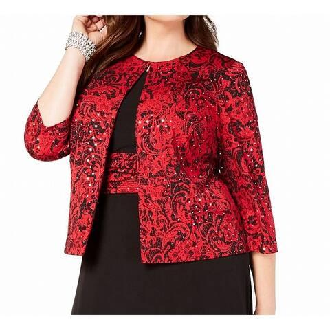 Jessica Howard Women's Jacket Red Size 16W Plus Disco Dot Open Front`