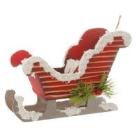"5.75"" Country Cabin Frosted and Glittered Red Snow Sleigh Christmas Ornament"