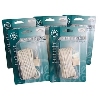 Pack of 5 GE Telephone Jack Base Cords with 2 Device Adapters