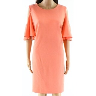 Calvin Klein NEW Orange Womens Size 16 Flutter-Sleeve Shift Dress