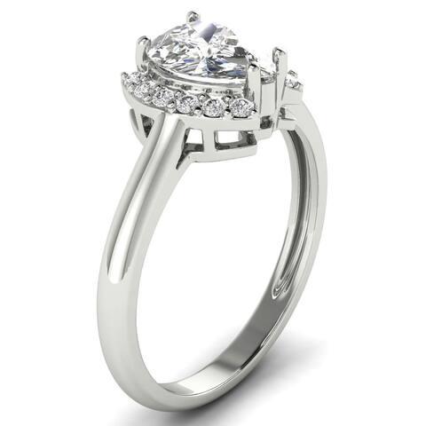 1.12 CT Round & Marquise Half Halo Diamond Engagement Ring 1 CT Center