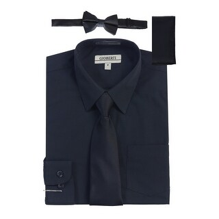 Gioberti Little Boys Navy Solid Shirt Tie Bow Tie Square Pocket 4 Pc Set (More options available)