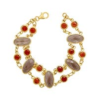 11 ct Natural Smoky Quartz & Garnet Bracelet in 14K Gold-Plated Sterling Silver - Smokey