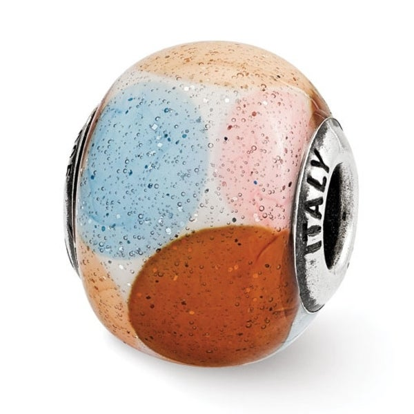 Italian Sterling Silver Reflections Brown/Blue/Pink/Orange with Glitter Glass Bead (4mm Diameter Hole)