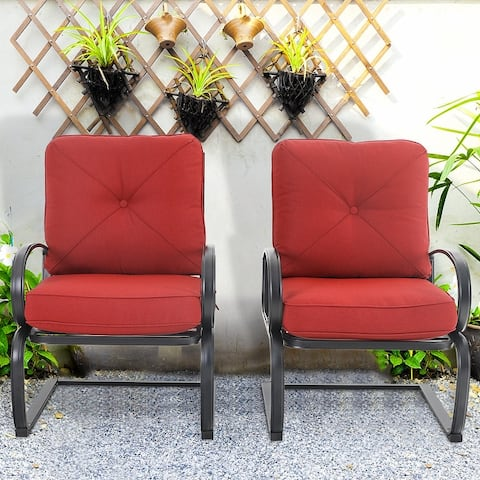 PHI VILLA 2-Piece C-Spring Patio Metal Dining Chairs with Cushions
