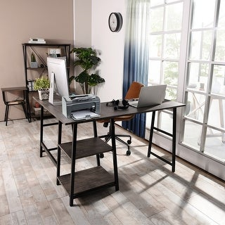 Link to Carbon Loft Angband L-shaped Corner Computer Desk with Shelf Similar Items in Home Office Furniture