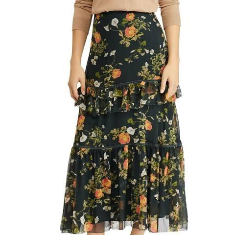 Lauren By Ralph Lauren Laucar Floral Print Tiered Peasant Skirt Green