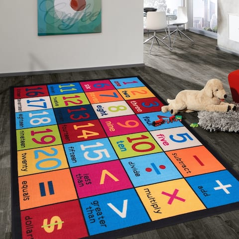 Kids Educational Learning Numbers Non Slip Area Rug