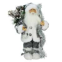 "12"" Country Patchwork Standing Santa Claus Christmas Figure"