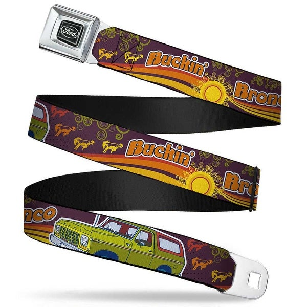 Ford Emblem Vintage Ford Bronco Buckin' Bronco Wine Red Orange Green Seatbelt Belt