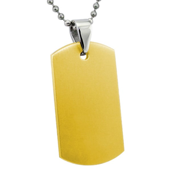 Engravable Gold Plated Stainless Steel Dog Tag - 24 inches