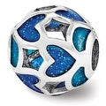 Italian Sterling Silver Reflections Blue/Green Heart Enameled Bead (4mm Diameter Hole) - Thumbnail 0
