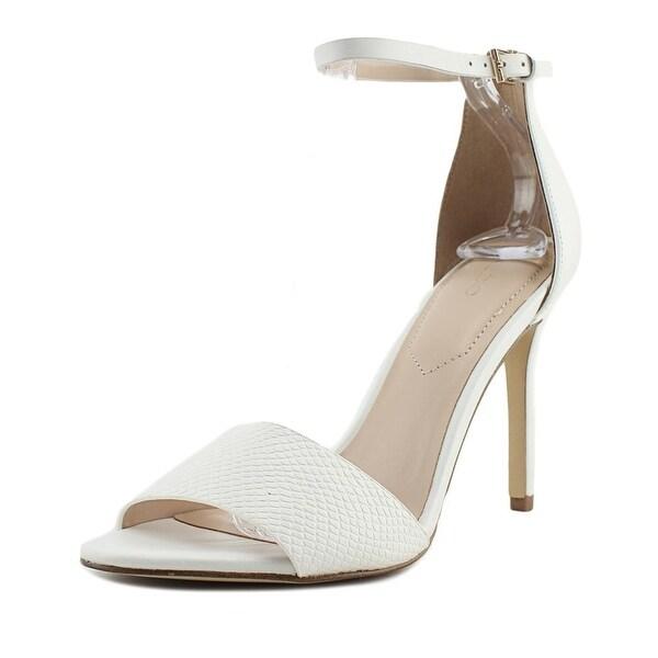 Aldo Melawet Women Open-Toe Suede White Heels