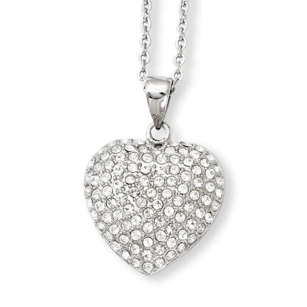 Stainless Steel CZ Heart Pendant 20in Necklace (1 mm) - 20 in