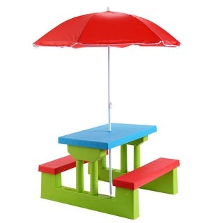 Buy kids table chair sets online at overstock our best kids costway 4 seat kids picnic table wumbrella garden yard folding children bench outdoor watchthetrailerfo