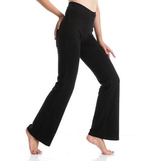 YIDAINLINE Women High Waist Boot Cut Yoga Pants Stretch, Black, Size XX-Large