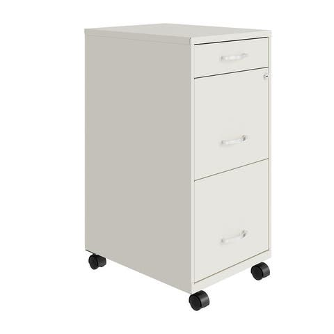 """Space Solutions 18"""" Deep 3 Drawer Metal File Cabinet, Pearl White"""