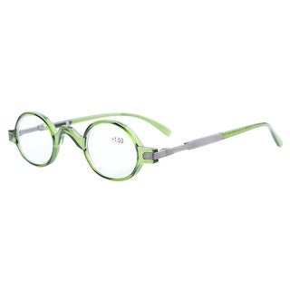 Eyekepper Readers Spring Temple Vintage Mini Small Oval Round Reading Glasses Green +4.0 - +4.00